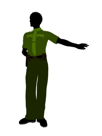 patrolman: African american male sheriff silhouette illustration on a white background Stock Photo