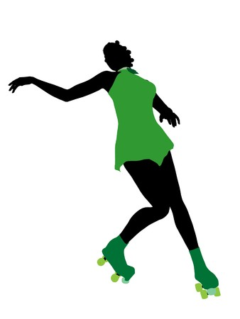 African american female roller skater illustration silhouette on a white background Stock fotó