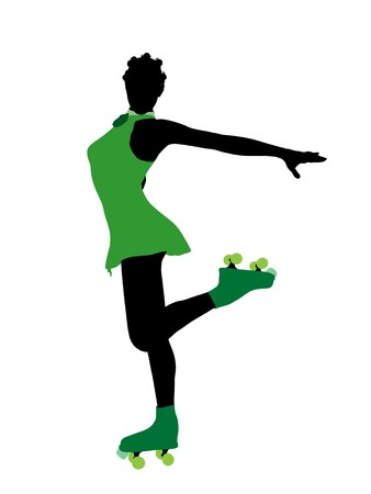 African american female roller skater illustration silhouette on a white background Stock Illustration - 7391793