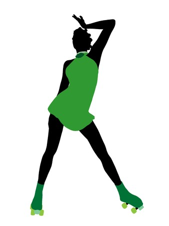 African american female roller skater illustration silhouette on a white background Stock Illustration - 7392125