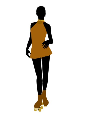 Female roller skater illustration silhouette on a white background Stock Illustration - 7391976