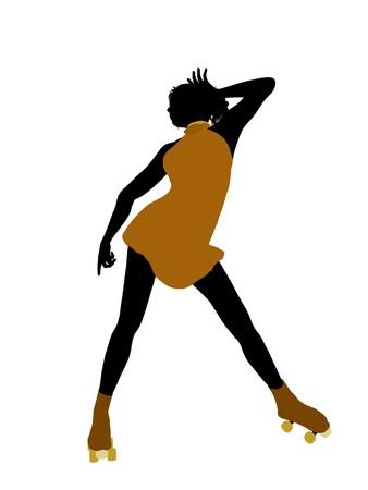 Female roller skater illustration silhouette on a white background