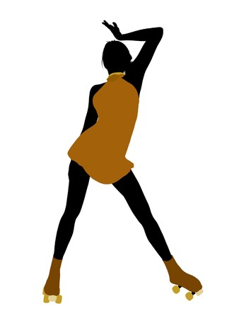 Female roller skater illustration silhouette on a white background