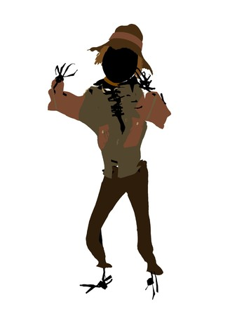 Halloween scarecrow silhouette illustration on a white background Zdjęcie Seryjne