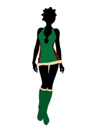 sexy christmas elf: Sexy african american femminile Natale Elfo illustrazione silhouette su uno sfondo bianco