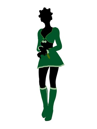 fay: Sexy african american female christmas elf illustration silhouette on a white background