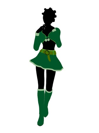 sexy christmas elf: Sexy african american female christmas elf illustration silhouette on a white background