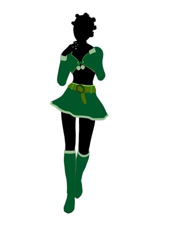 sexy christmas elf: Sexy afro-americana femminile Natale elfo illustrazione sagoma su sfondo bianco