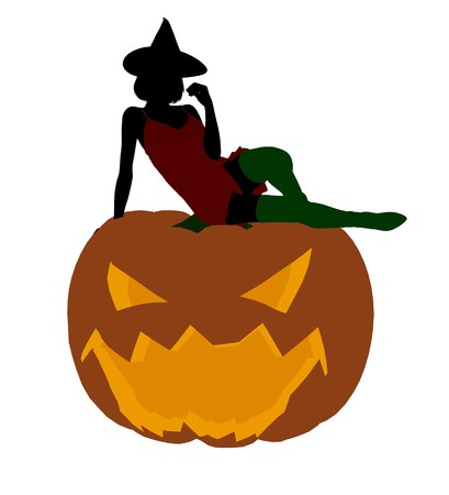 Sexy halloween witch silhouette illustration on a white background illustration