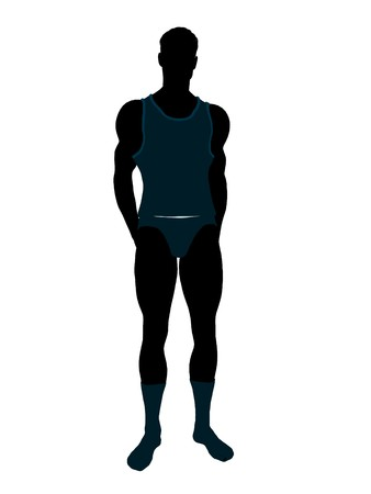 Male model wearing underwear illustration silhouette on a white background