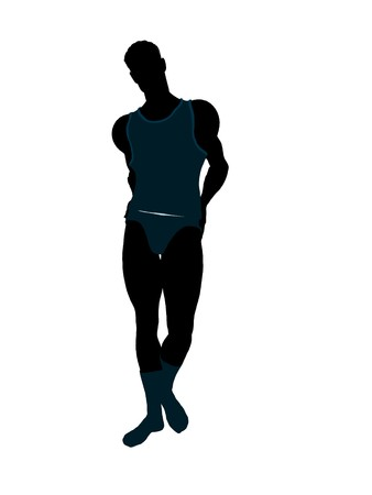 intimate: Male model wearing underwear illustration silhouette on a white background