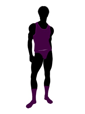 African american male model wearing underwear illustration silhouette on a white background