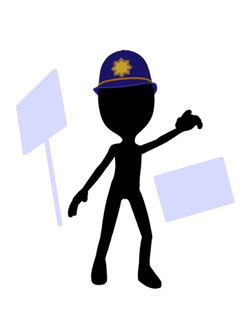 Cute black silhouette police guy standing on a white background  Stock Photo - 7401857