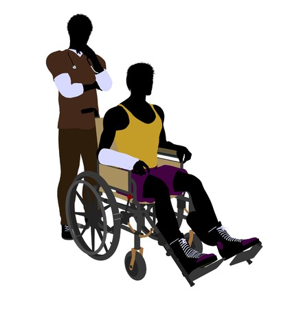 African american male doctor with injured athlete silhouette on a white background photo