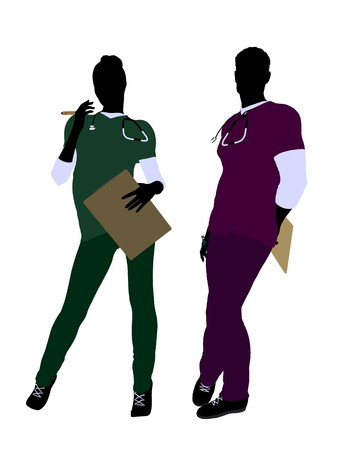 emergency room: Female and male doctor silhouette on a white background Stock Photo