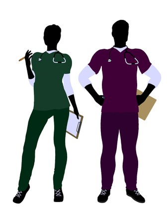 Female and male doctor silhouette on a white background Stock fotó