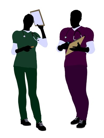 practioner: Female and male doctor silhouette on a white background Stock Photo