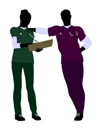 gynecologist: Female and male doctor silhouette on a white background Stock Photo