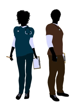 emergency room: African american female  and male doctor silhouette on a white background Stock Photo