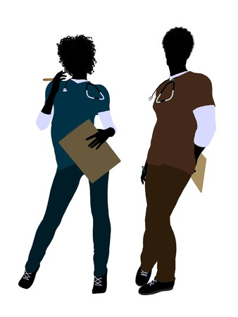 African american female  and male doctor silhouette on a white background Stock fotó
