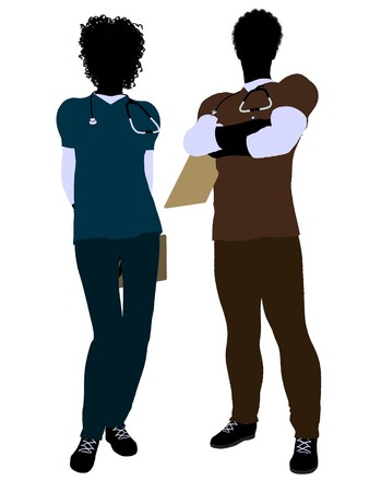 African american female  and male doctor silhouette on a white background Stock Photo - 7609627