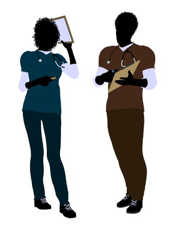 practioner: African american female  and male doctor silhouette on a white background Stock Photo