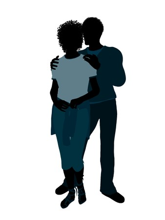 African american couple silhouette illustration on a white background