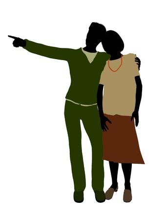 Active seniors couple silhouette illustration on a white background Stock Photo