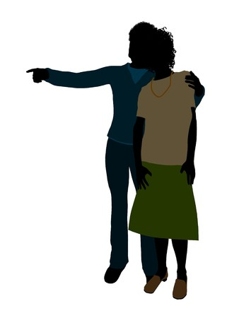 African american senior couple silhouette illustration on a white background