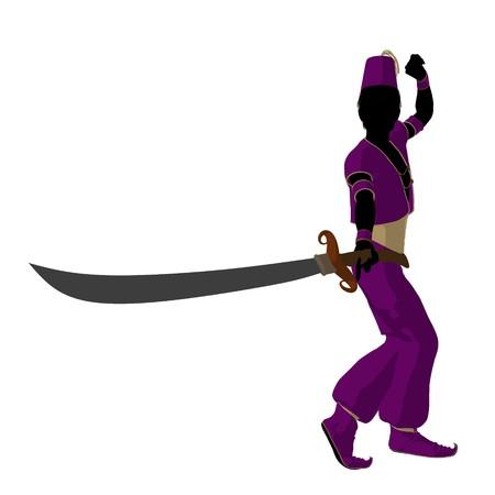 Arabian Boy Abbildung Silhouette auf wei?em Hintergrund Standard-Bild - 7655981