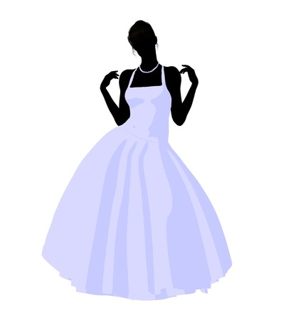 Woman in a wedding dress silhouette illustration on a white background