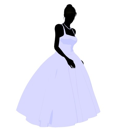 rite: Woman in a wedding dress silhouette illustration on a white background