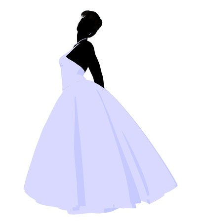 spousal: Woman in a wedding dress silhouette illustration on a white background
