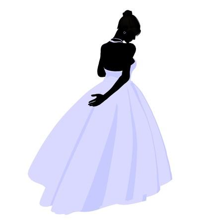흰색 배경에 웨딩 드레스 실루엣 일러스트 레이션 여자 스톡 콘텐츠