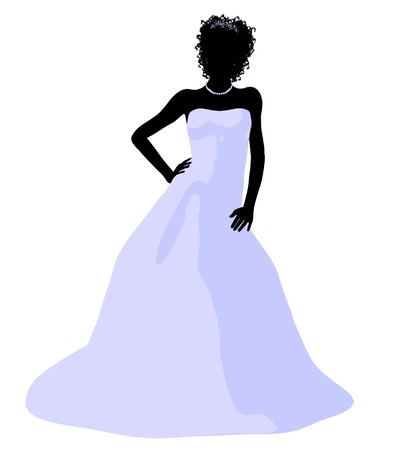 wedding dress: African ameircan woman in a wedding dress silhouette illustration on a white background