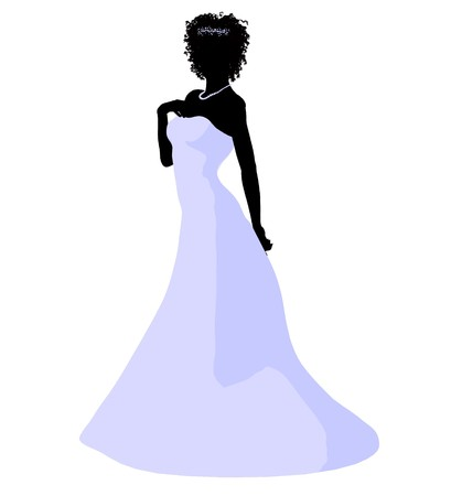 spousal: African ameircan woman in a wedding dress silhouette illustration on a white background