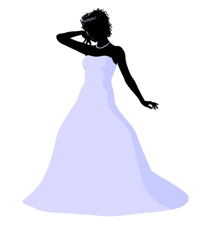 nuptials: African ameircan woman in a wedding dress silhouette illustration on a white background