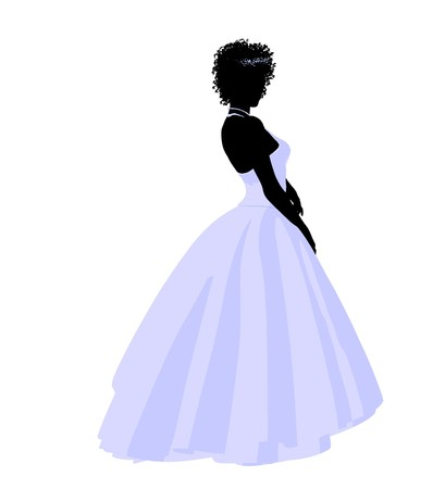 rite: African ameircan woman in a wedding dress silhouette illustration on a white background