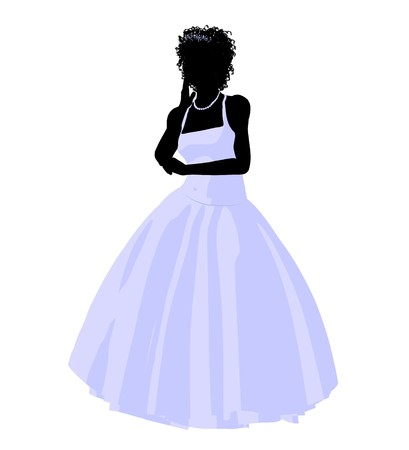 African ameircan woman in a wedding dress silhouette illustration on a white background