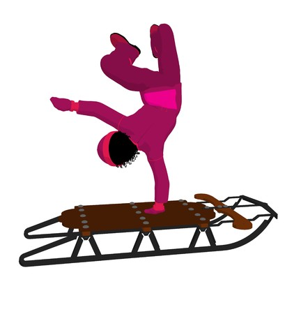horse sleigh: African american girl on a sled silhouette on a white background