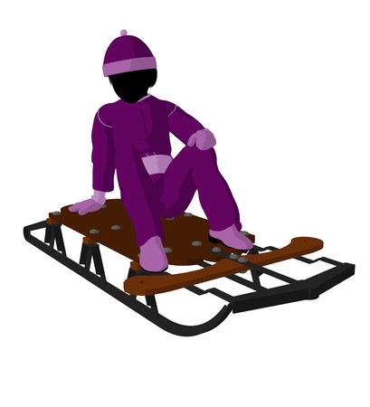 horse sleigh: Girl on a sled silhouette on a white background