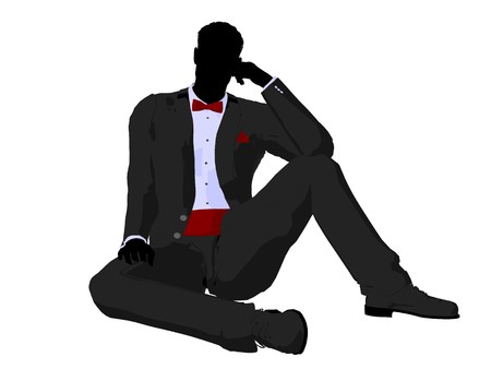 Man dressed in a tuxedo silhouette illustration on a white background Stock Illustration - 7655746