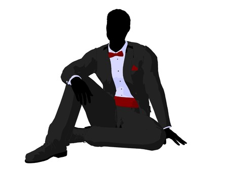 Man dressed in a tuxedo silhouette illustration on a white background Stock Illustration - 7655670