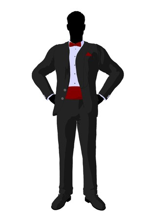 Wedding groom in a tuxedo silhouette illustration on a white background Stock Photo
