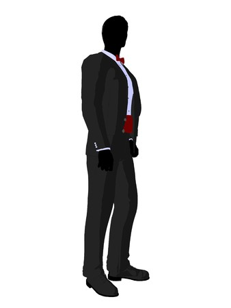 formalwear: Wedding groom in a tuxedo silhouette illustration on a white background Stock Photo