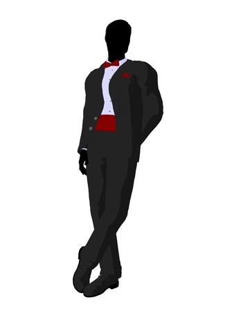 Wedding groom in a tuxedo silhouette illustration on a white background Foto de archivo