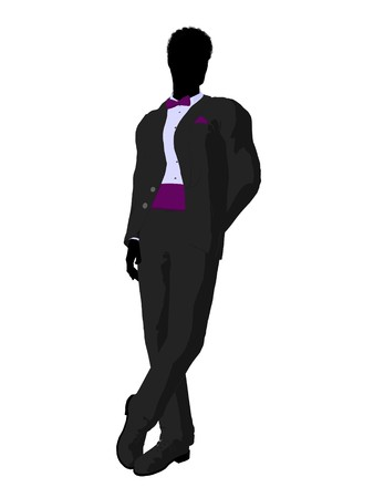 dinner wear: African american wedding groom in a tuxedo silhouette illustration on a white background