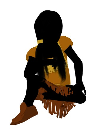 Native American Indian silhouette illustration on a white background illustration