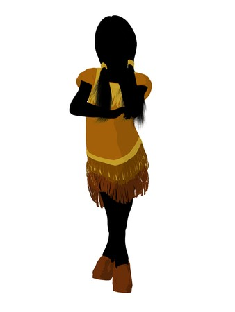 pocahontas: Native American Indian silhouette illustration on a white background Stock Photo