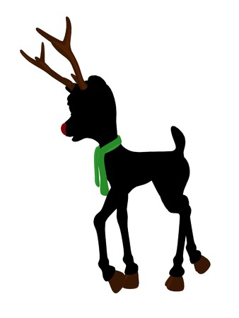 An illustration silhouette of rudolph the red nosed reindeer on a white background illustration